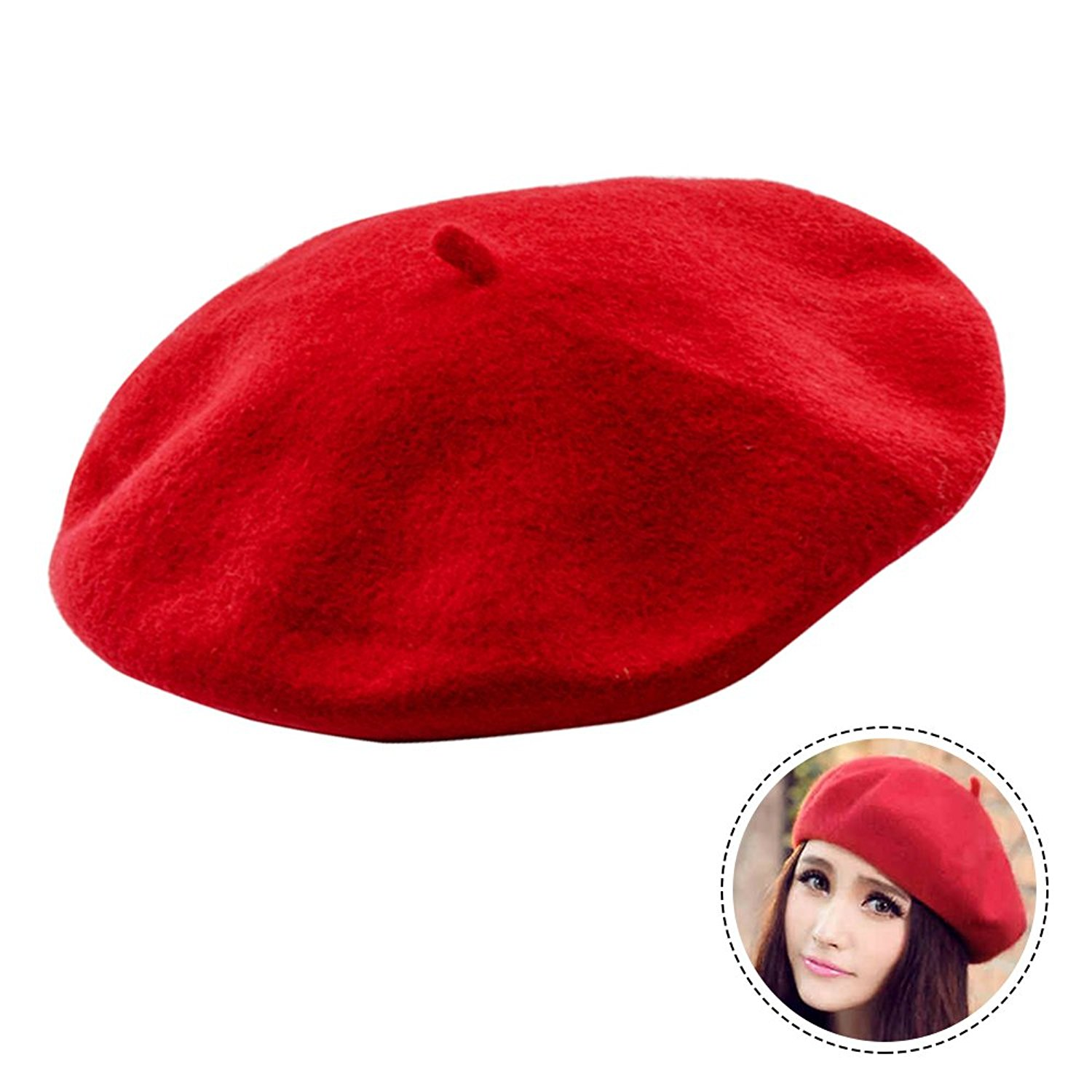 815e6373f4e Get Quotations · Seacan French Wool Beret French Beret Hat Classic Solid Color  Beret Beanie For Women Girls-