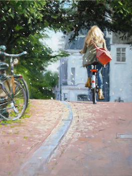Handmade Simple Street Landscape Beautiful Lady Ride On Bicycle Oil Painting For Living Room Decoration Unique