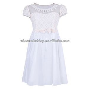 Trendy design white and pink bright colored bangkok dress for young ladies