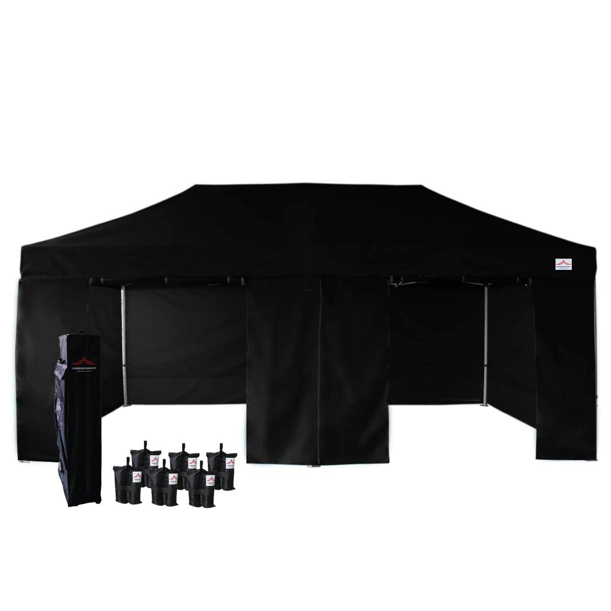 UNIQUECANOPY 500D Enhanced 10x20 Ez Pop up Canopy Portable Folded Commercial Canopy Car Shelter Wedding Party Show Tent with 4 Zippered Side Walls and Wheeled Carrying Bag Black