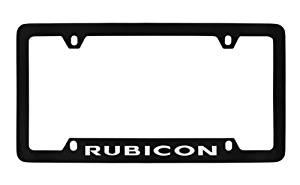 Jeep Rubicon Black Metal license Plate Frame Holder, Bottom Engraved 4 Hole