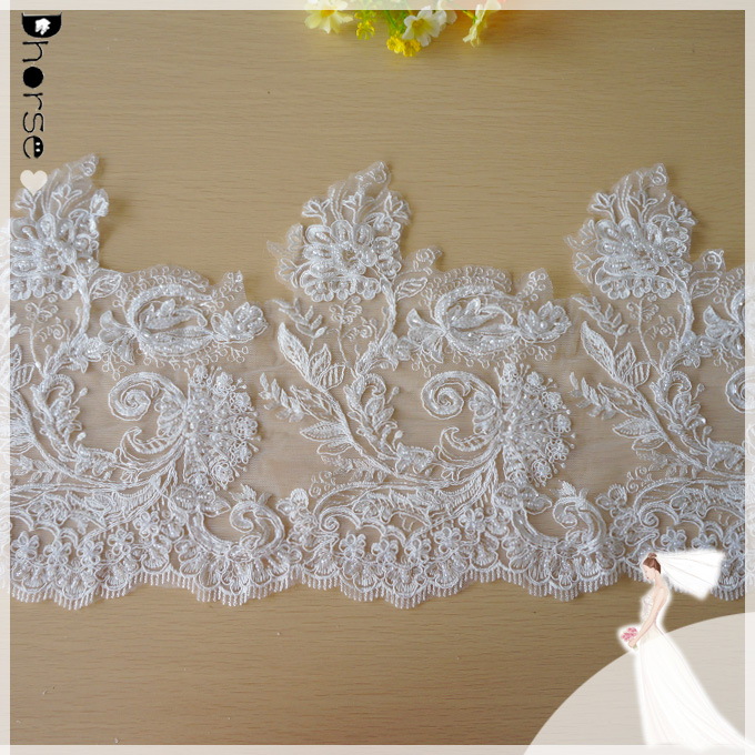 TOP Graceful Ivory Alencon Lace Trim Embroidered Retro Tulle Lace Wedding Veil Bridal Lace Trim Dhorse DHBL1873