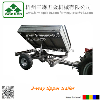 3 way hydraulic tipping trailer 1.5ton / 2ton trailer 3 way tip ; agriculture tractor trailer
