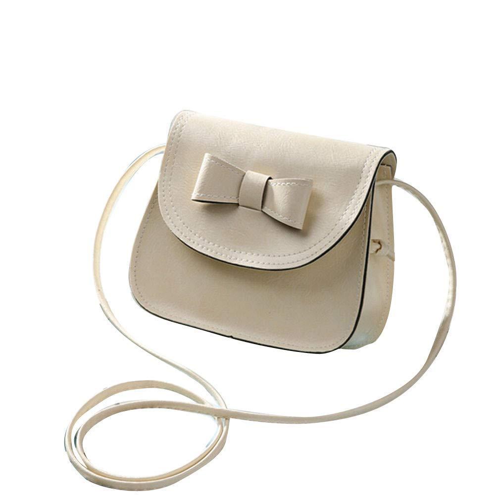 Fashion Women Bowknot Leather Shoulder Bags Handbag,Outsta Fashion Mini Bag Satchel Cross Body Bag Casual Bag Travel Multicolor (Beige)