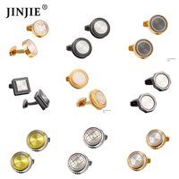 Various options wholesale round style gold plating cufflinks for shirts