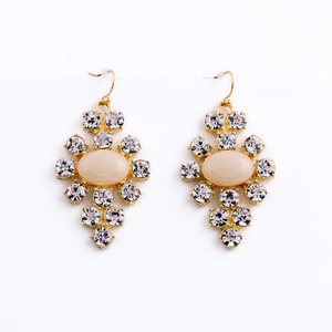ed00825 New Custom Fashion Gem Facets Crystal Costume Handmade Earrings