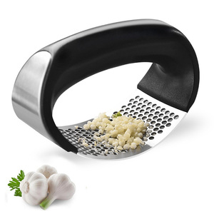 Amazon Top Seller 2019 Stainless Steel Garlic Ginger Crusher Squeezer with Handle Include Garlic Peeler Rocker Clean Brush