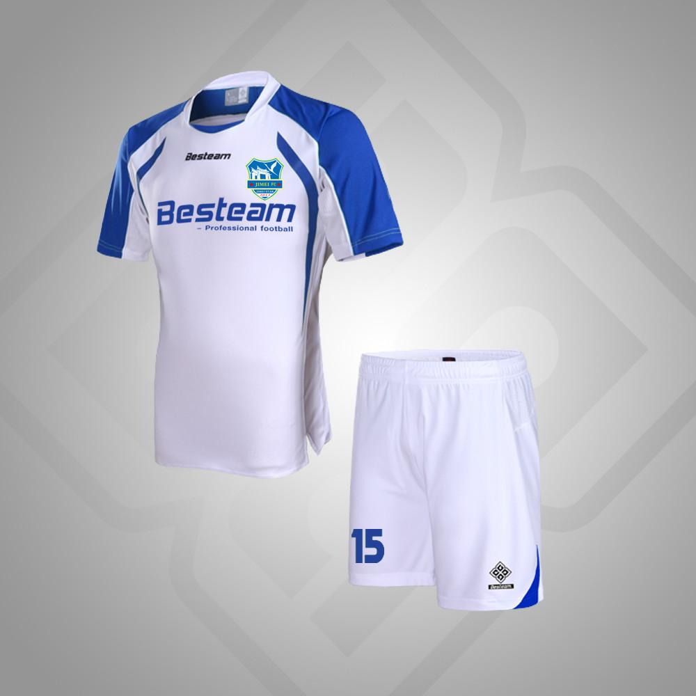 Blanco/Azul de secado rápido camiseta de fútbol soccer uniforme ...