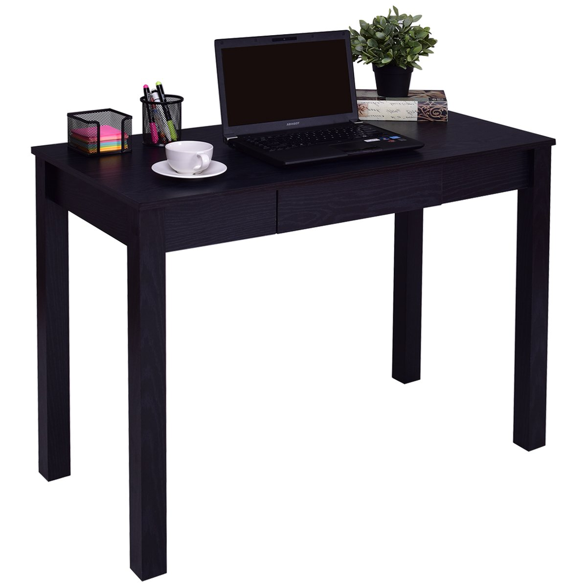 TANGKULA Writing Study Table,Computer Desk Drawer, Home Office Compact Efficient Laptop PC Desk, Wood Workstation Writing Study Desk (Black)