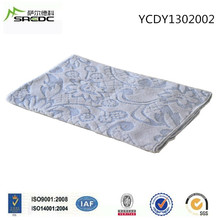 Cotton polyester white blue embossed jacquard blanket