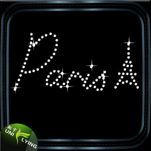 Best Quality Paria Letters rhinestone Iron on patches For T-shirt Decoration