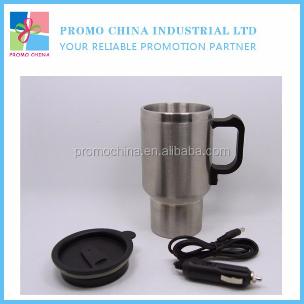 Custom Stainless Steel Electric Thermal Car Mug With Plastic Lid And Handle