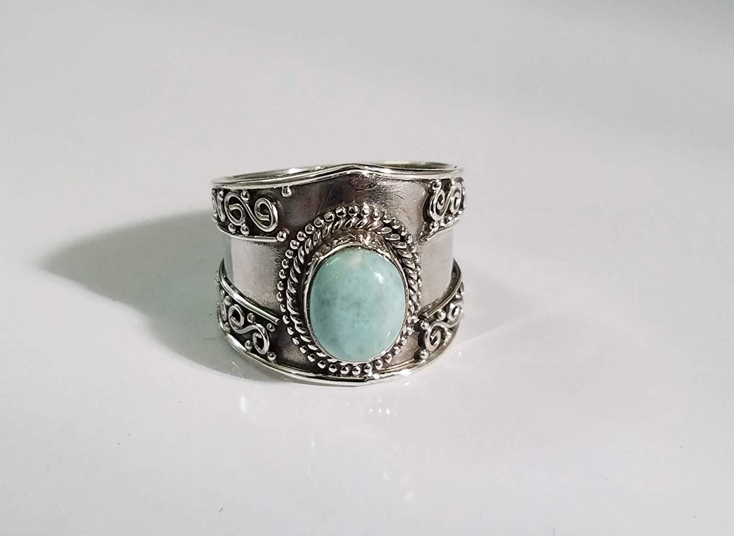 Larimar Ring.925 Sterling Silver.Natural Blue Ring.Wide Band Ring.Dominican Republic Larimar.Classic Modern Design.Bohemian Tribal Ring.Handmade Ethnic Gypsy.Extremely Unusual Ring.Gift Her