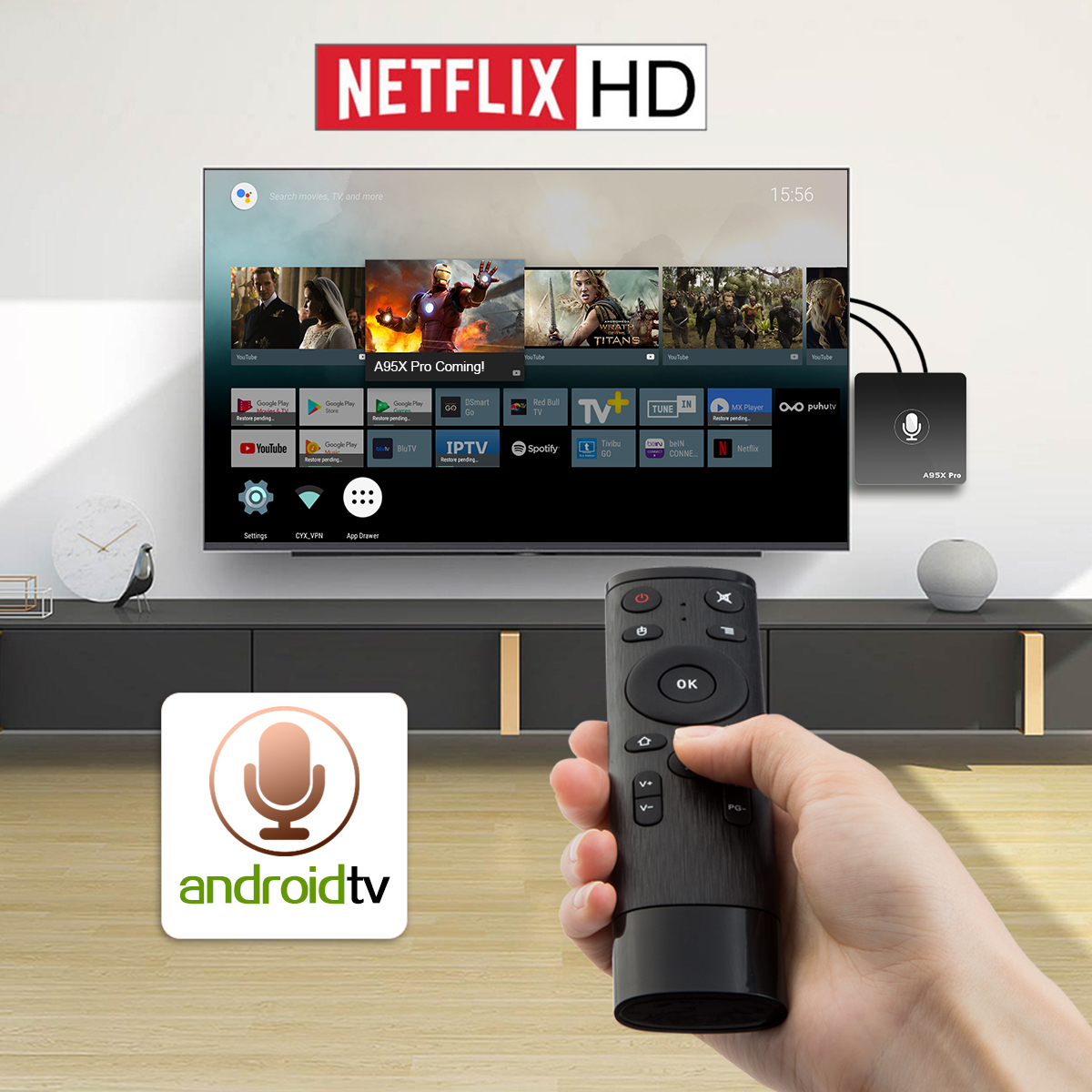A95x Pro Android Tv Os 2gb/16gb Netflix 720p Youtube 4k Amlogic S905w 4k Tv  Box With Voice Remote 2 4g Wifi Lan - Buy Android Tv Os,4k Tv Box,4k Tv Os
