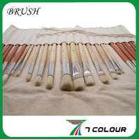 24 Piece Long Hand Artist Paint Brush Roll Up, Canvas Storage Holder