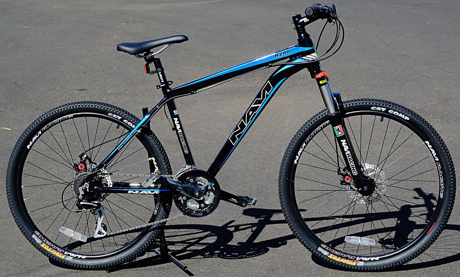 "Navi R240 Hardtail Aluminum Alloy Frame, ZOOM Disc Brakes, Shimano ACERA 24-speed, 26"" Wheel Mountain Bike (BLACK/ BLUE)"