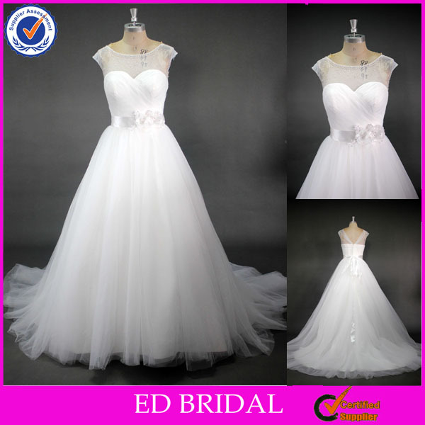 LN103 Simple But Elegant Crystal Beaded Real Sample Wedding Dresses Made To Order China