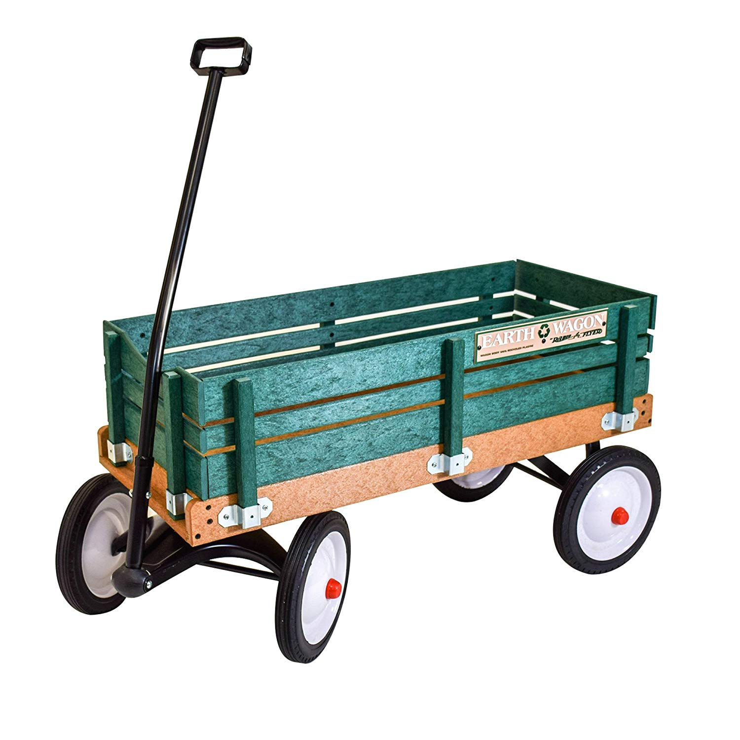 "Radio Flyer Classic Green Earth Wagon Utility cart for Kids, Shopping, Groceries, Gardening | Eco-Friendly Recycled Plastic Sides & Bed - No Wood - 10"" Steel Wheels with Rubber Tires 