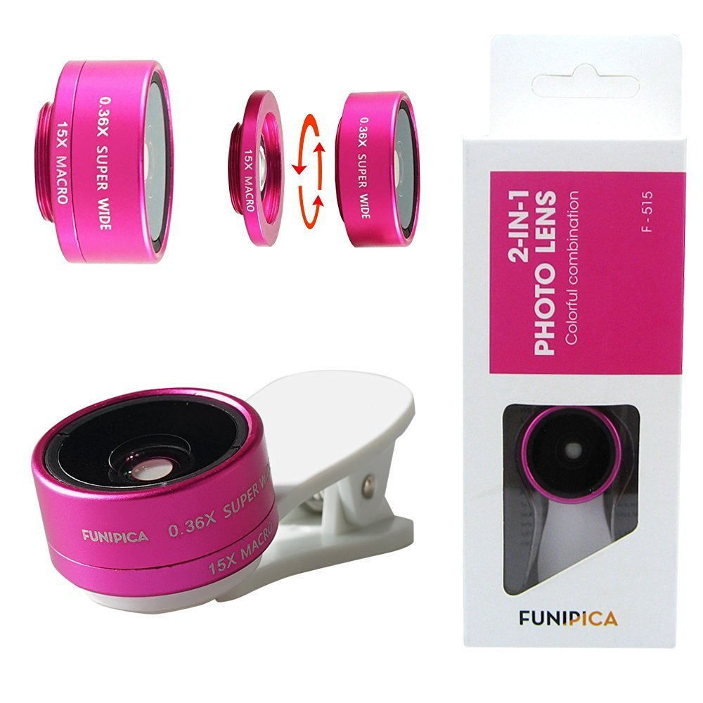 Shinefuture Universal Phone Lens 0.36X Ultra Wide Angle +15X Macro Lens Clip Camera Photo Kit For IPhone 6S 6 5S Samsung Galaxy S7 Android and All Other Smartphones (White+Hot Pink)