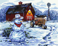 GX8474-40*50 Wall decor 3D canvas oil painting art of winter village snow man picture for decor