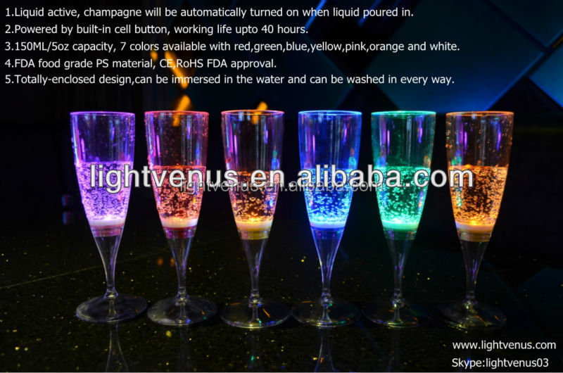 Liquid lighted up LED champagne glasses lights for bar, celebration