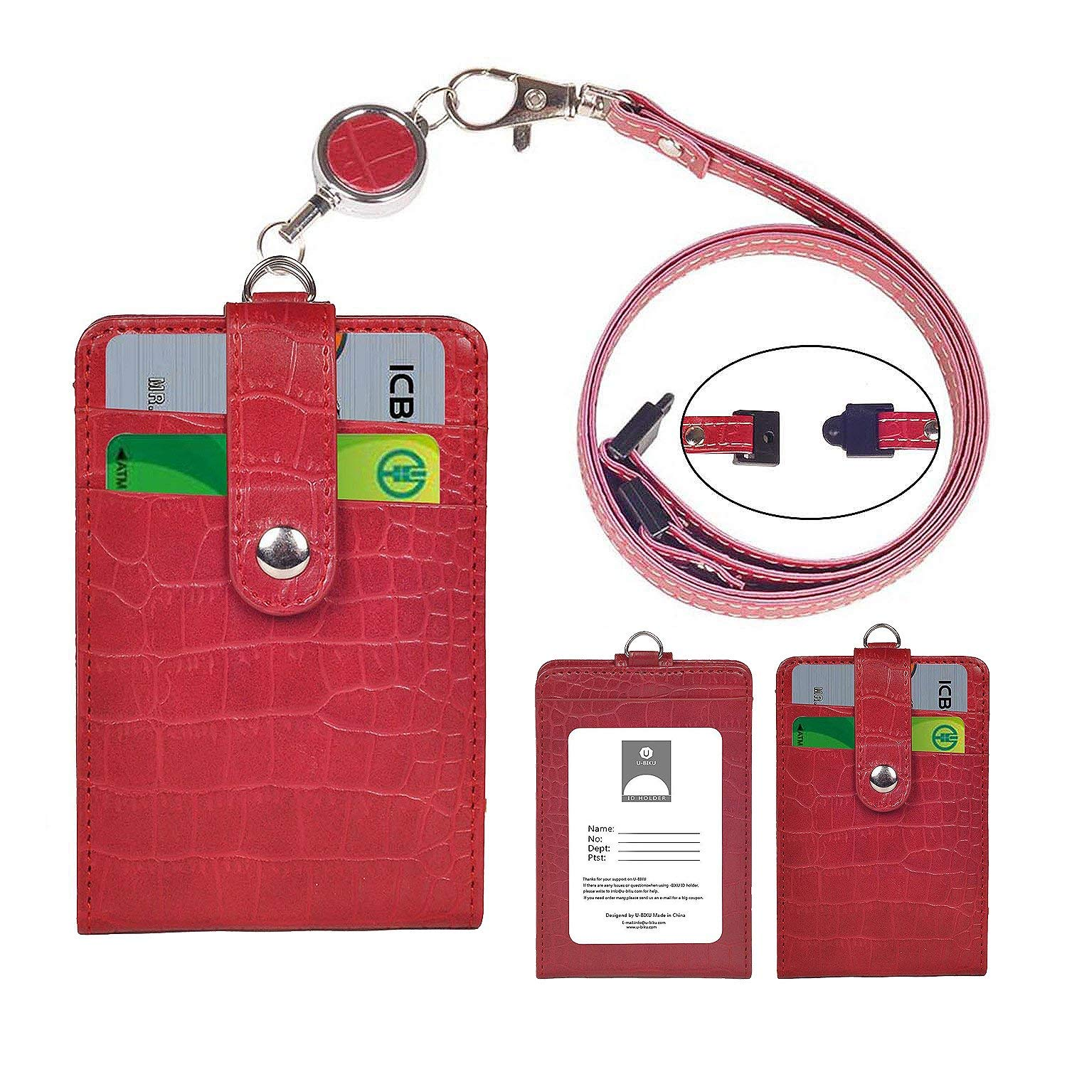Badge Holder Wallet, U-BIKU PU Leather Alligator Pattern ID Card Holder with 1 ID Window and 6 Card Slot, 1PC Retractable Reel,1PC Neck Lanyard-Vertical (Red)