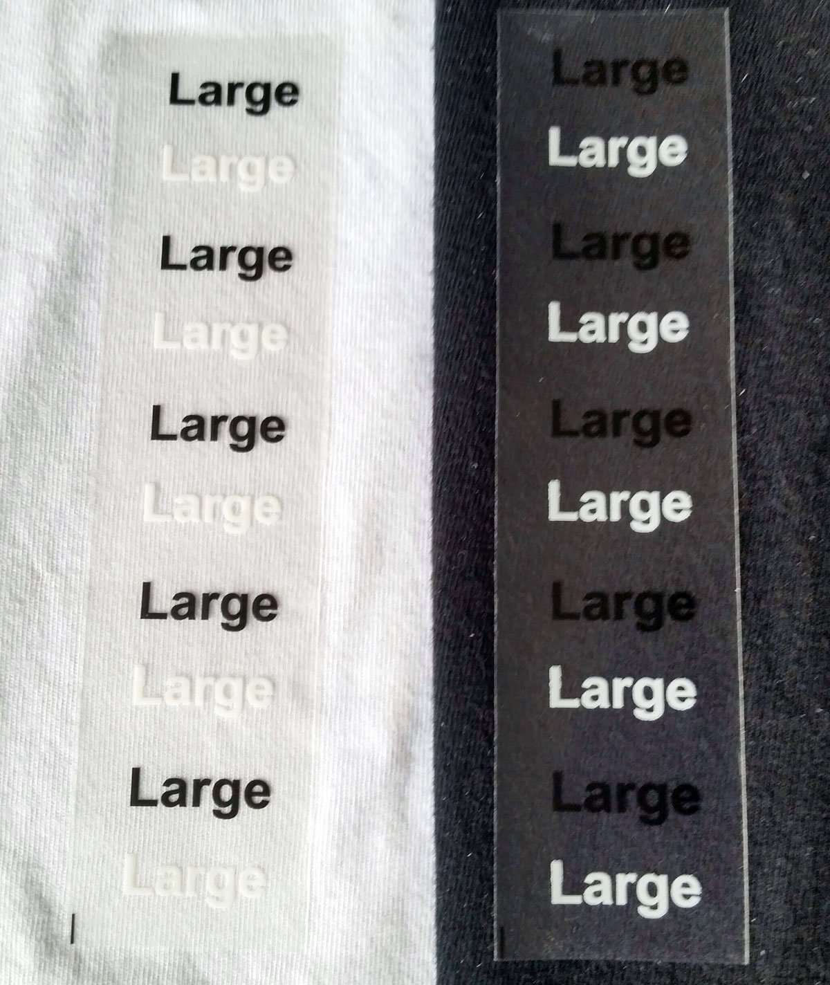 Large Modern Style Clear Clothing Size Stickers For Retail Store Supplies Apparel Safe Adhesive Size Labels For Clothing 125 Size Labels on A Roll Stick On Clothing Labels