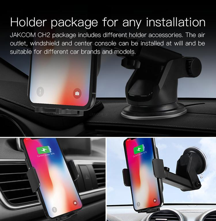 JAKCOM CH2 Smart Wireless Car Charger Holder Hot sale car accessories new 2019 trending product wireless car charger