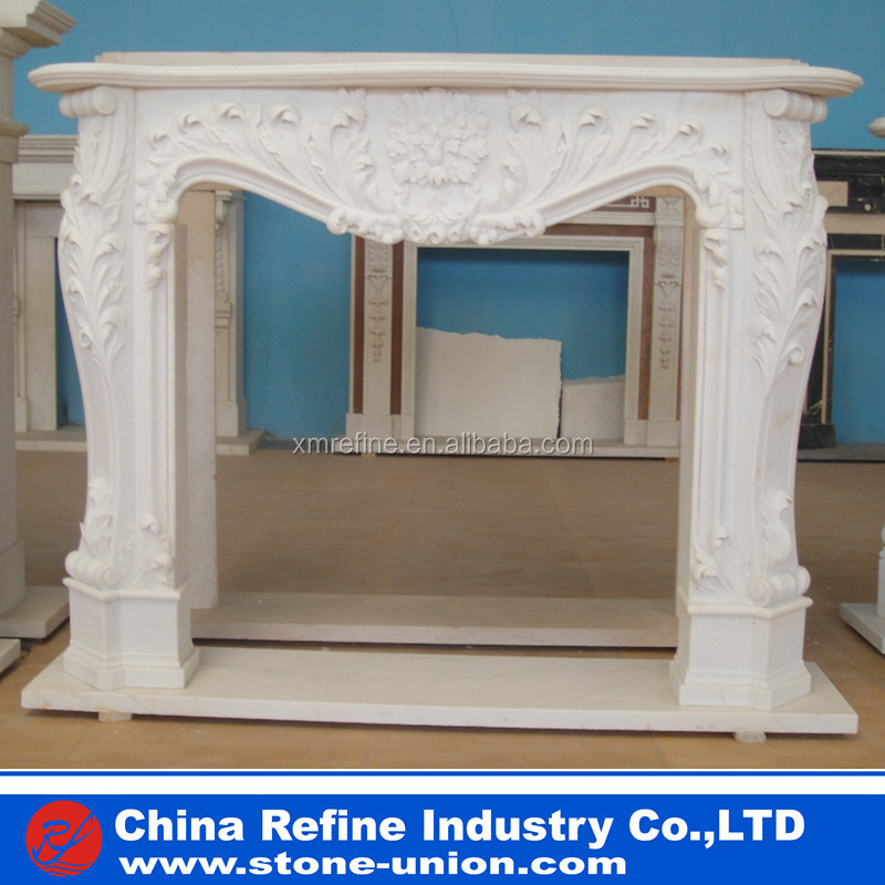 Popular style white stone fireplace carved with flowers