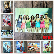 Hot Sale Retro Pinup Girl Lady Tin Signs vintage Metal Sign Painting Decor Wall Of Bar Cafe Pub Shop Restaurant