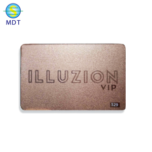 factory price golssy etching rose gold metal card