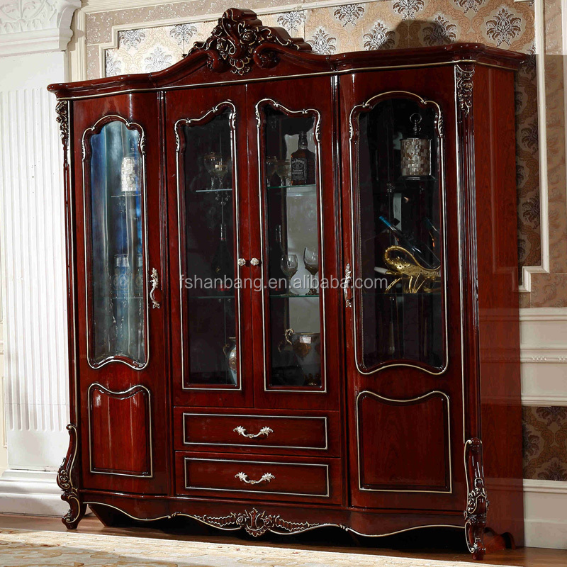European French Style Rose Carved Antique Inlaid Wood Furniture