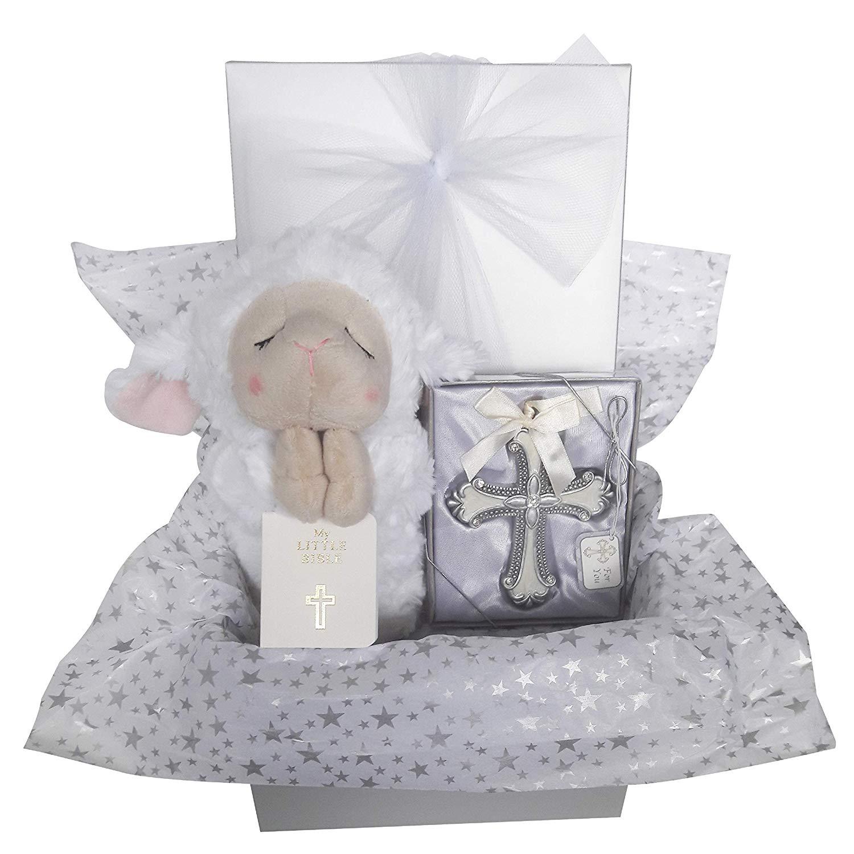 Christening Baptism Gift Set for Boy Girl Baby or Kids. Includes Ganz Praying Lamb,