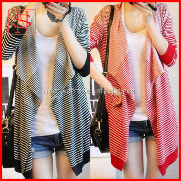 Wholesale knitted striped cardigan sweater patterns ladies knit poncho