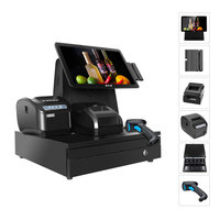 "14.1''/15.6"" all in one windows touch screen POS system/members card reader pos terminal/supermarket cash register"