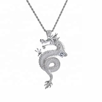 White Gold Plated Iced Out Cubic Zirconia Dragon Pendant For Men