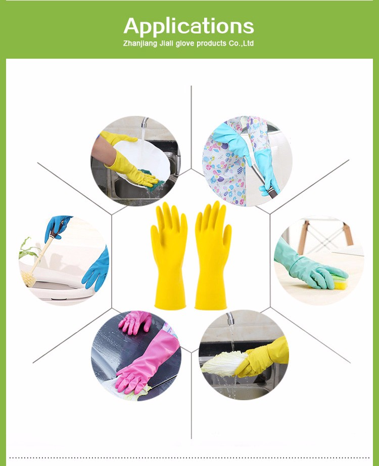 CE extra long flock lined rubber latex household gloves with cotton for kitchen cleaning laundry household