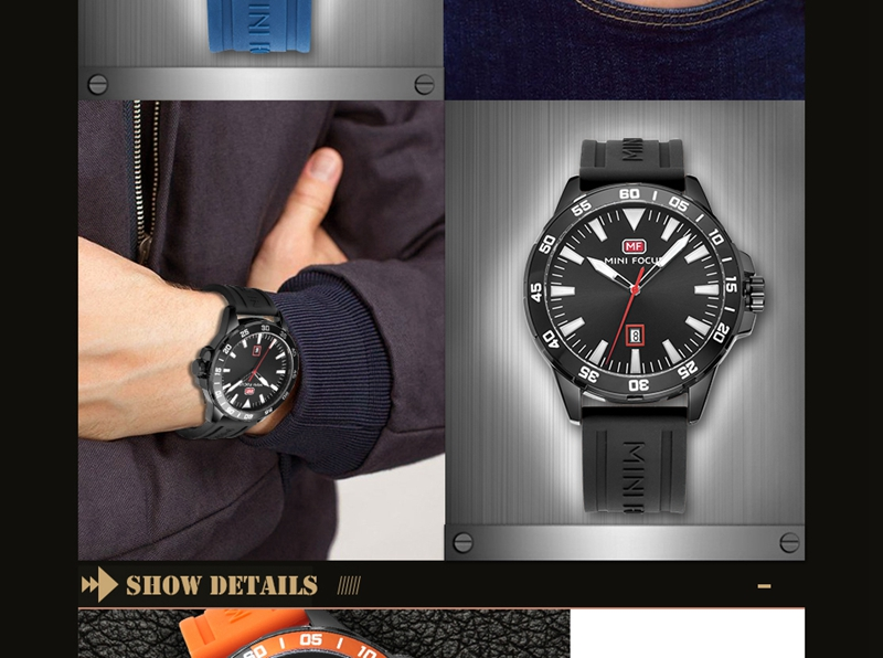 MINI FOCUS MF0020G Silicone Sport Men Watches Fashion 3 ATM Waterproof Quartz Wrist Watch Men Luxury Clock Male reloj hombre