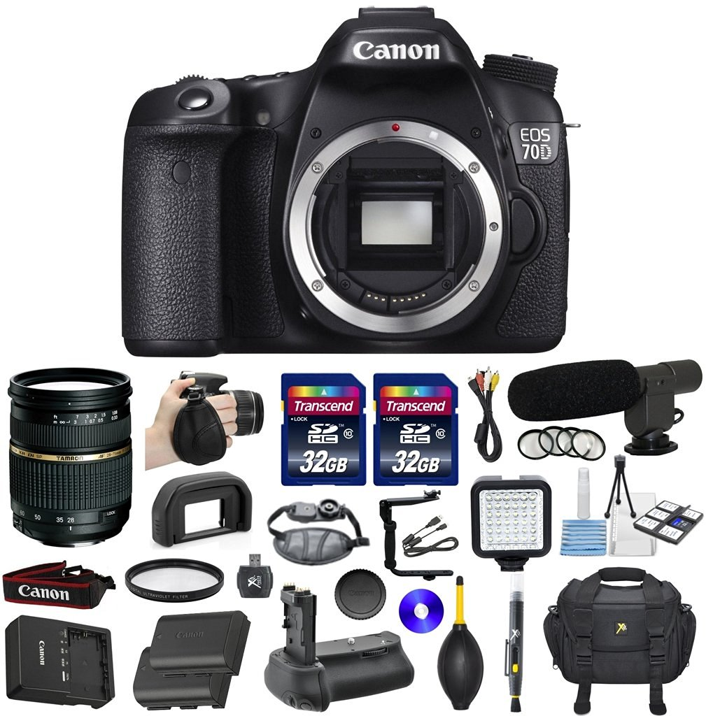 Canon EOS 70D 20.2MP CMOS Digital SLR DSLR Camera Bundle with Tamron AF 28-75mm f/2.8 Autofocus Lens & 2 Pieces Transcend 32GB High Speed SDHC Memory Cards + Video Accessory Kit (20 items)