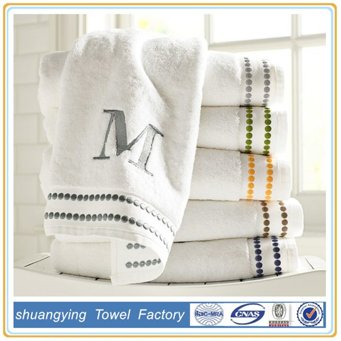 Custom made luxury embroider terry 100% cotton bath towel fabric