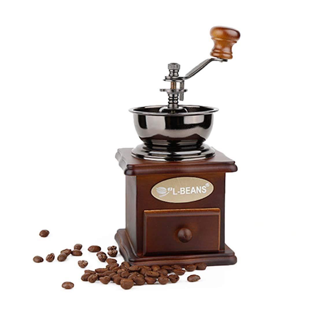 Classic Vintage Style Manual Hand Grinder Coffee Grinder, Manual Coffee Grinder With Catch Drawer,Adjustable Grind