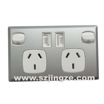 electric multi plug socket with swith usb port double type
