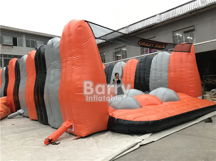 New Design 2019 yellow Inflatable 5k obstacle course , crazy game inflatable 5k run for outdoor event