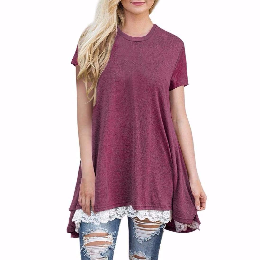 Clearance ! Women Blouse, ღ Ninasill ღ Fashion Lace Short Sleeve O- Neck Tops T Shirt Tank (M, Wine Red)