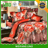 100% polyester 3d fashion satin bedding set/gold bedspreads/flower bed sheet