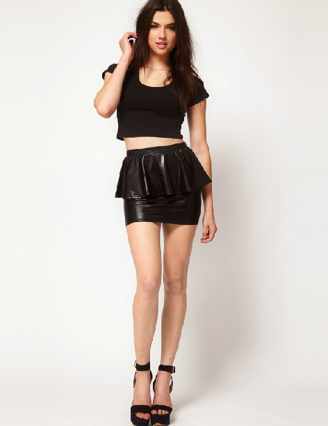 Black Sexy Fish Tail PU Ruffle Skirt Mini Slim Pencil