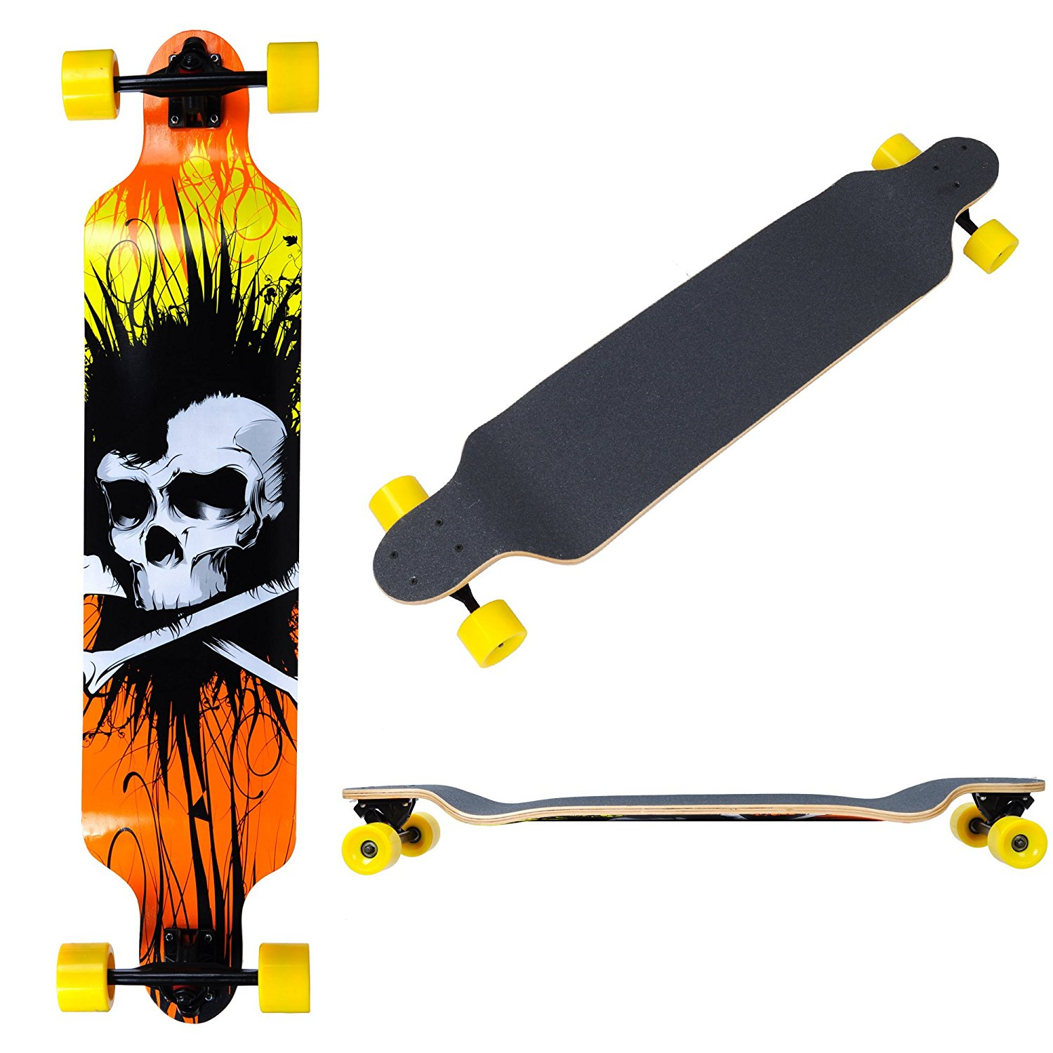 "GHP Wild Skeleton 7-Layer Canadian Maple Deck 41""x9.5"" Complete Downhill Longboard"