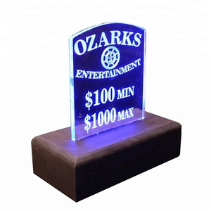 custom wood base LED acrylic table price tag round edge clear flash lighting plexiglass sign holder with wood for hotel