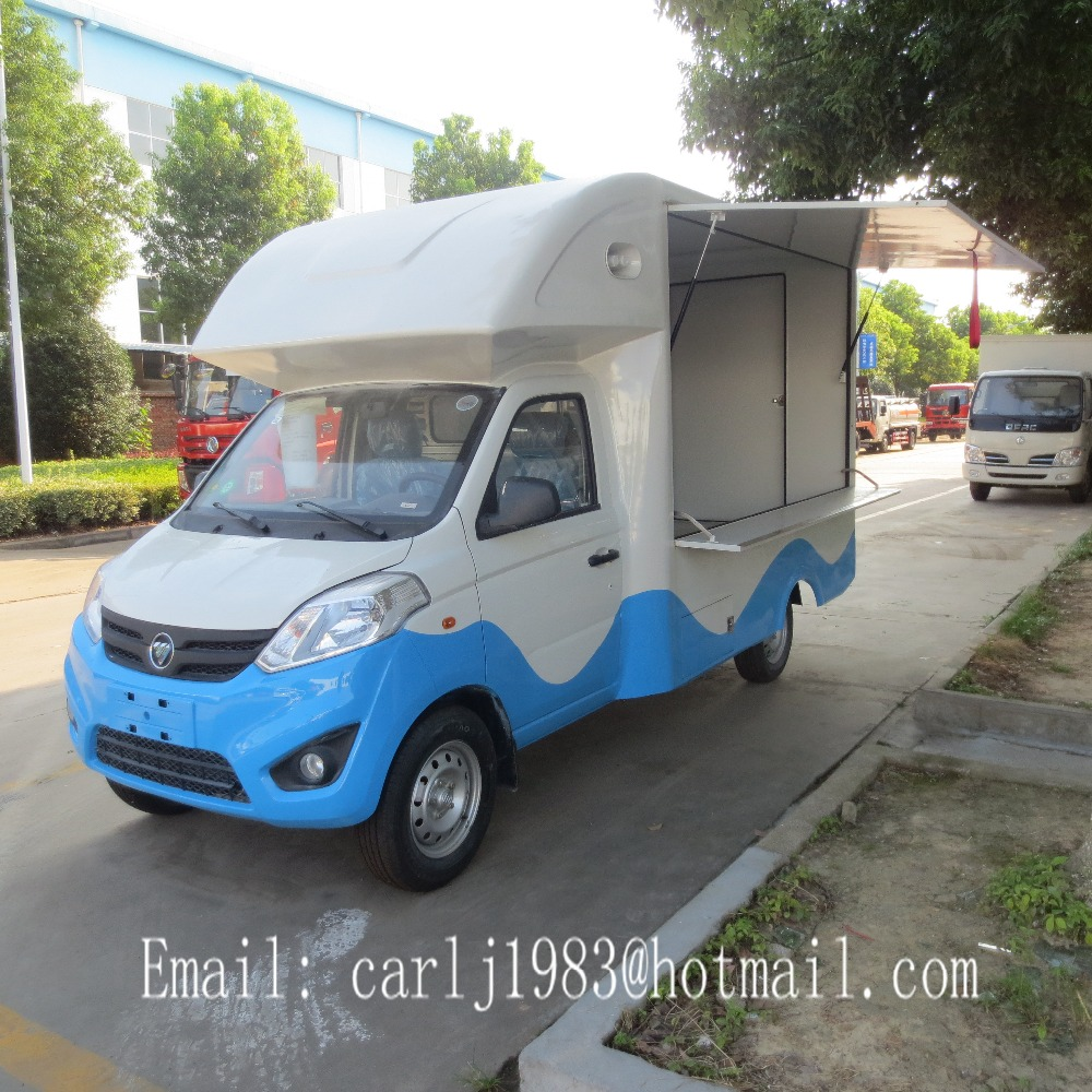 Chinese new gasoline 4 wheeler mobile food truck manufacturers