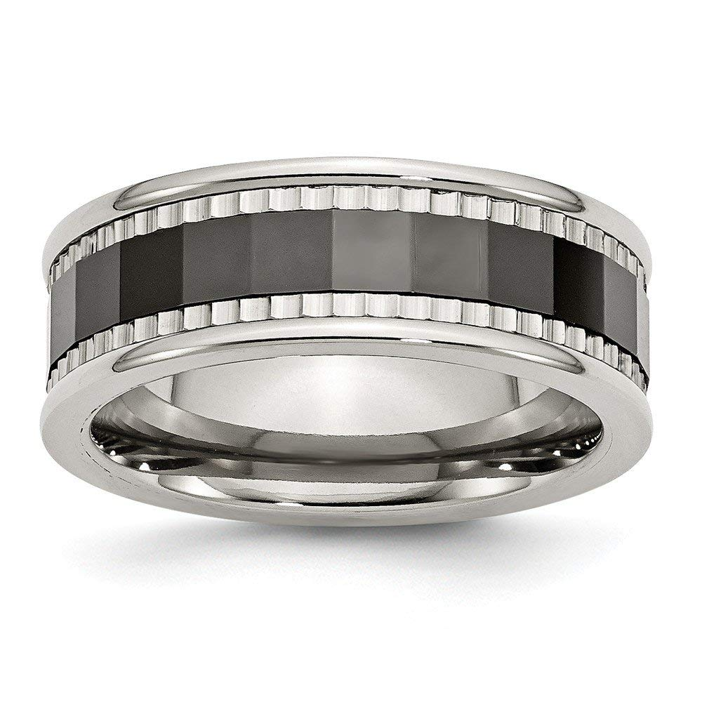 Top 10 Jewelry Gift Stainless Steel w/Sawtooth Accent/Black Ceramic Center Faceted Band